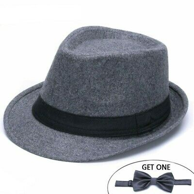 Classic Solid Men's Dad Fedora Hats For Gentleman Woolen Jazz Church