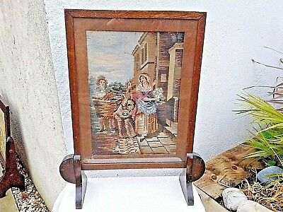 ANTIQUE VINTAGE WOODEN FIRE SCREEN GUARD with HAND EMBROIDERY TAPESTRY ITALIAN