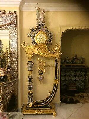 Stunning 9 Foot Tall Antique Gilt Brass/Bronze and Porcelain French Palace Clock