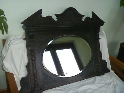 Antique Ornate Late Victorian/Edwardian Overmantle Mirror with Bevelled Edges