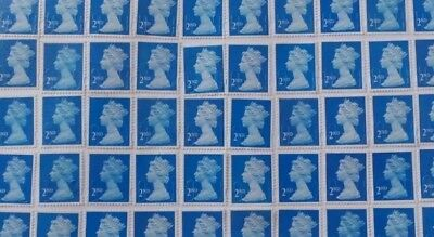 100 x 2nd Class blue security Stamps With Gum. Good Stick. Peelable