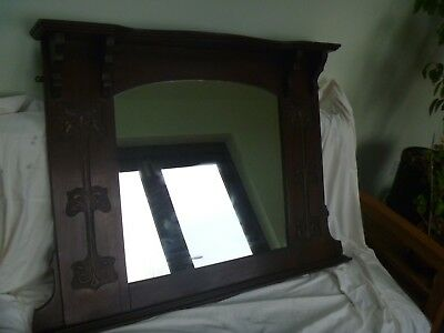oak 'arts and crafts' arched top overmantle mirror
