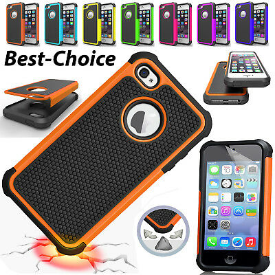 For Apple iPhone 8 7 6S 5S X Protective Dual Layer Case Anti-Shock Hybrid Cover