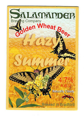 Salamander Brewing Company Hazy Summer pump clip/badge. Golden wheat beer.
