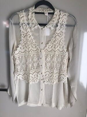 Only Hearts two piece twin set cream silk chiffon & lace blouse and vest vintage