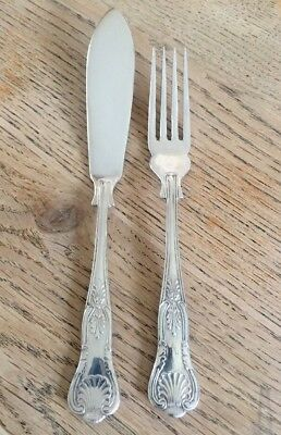 Vintage Pair Kings Pattern Silver Plated Fish Knife & Fork 'EPNS A1 Sheffield'