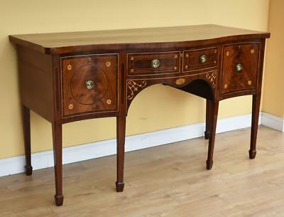 George III Mahogany Inlaid Serpentine Sideboard
