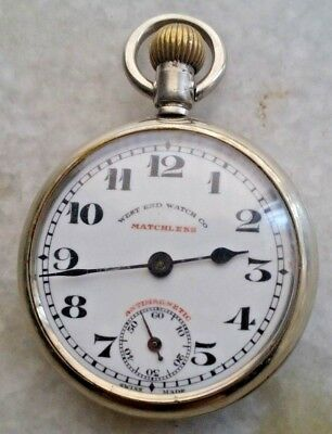 Westend Matchless Antimagnetic Winding Pocket Watch Porcelain Dial Vintage
