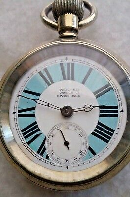 West End Watch Co. Dual Colour Winding Pocket Watch Porcelain Dial Vintage