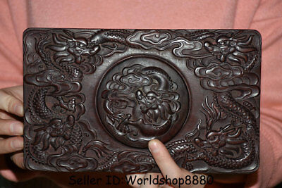 "8.8"" Rare Old Chinese Dynasty Redwood Wood Hand Carved Dragon inkstone inkslab"
