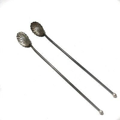 Antique Spoons Scallop Shell Sterling Silver Long Ice Tea Set of 2