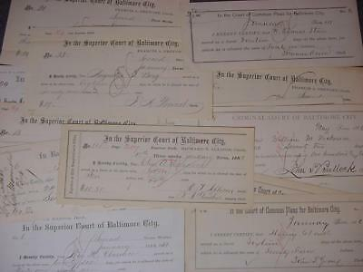 15 Old Baltimore MD 1880's Court Documents Paper Bill Heads Payment Receipts Lot
