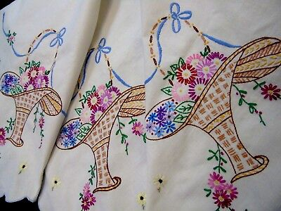 "Pretty,Vintage,Linen Hand Embroidered Tablecloth..Baskets of Flowers,30""x36"""