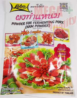 Lobo Powder For Fermenting Pork Nam Powder Thai Food Curing Pork 70 Gram.