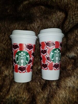 Starbucks 2019 HEARTS REUSABLE CUP Ltd Valentine's Day GRANDE 16oz Set Lot 2