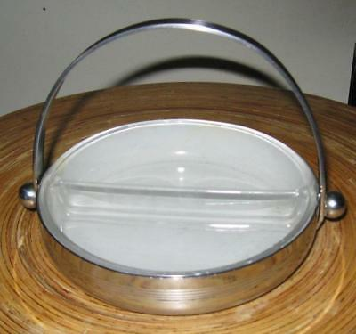 Vintage CHASE Art DEco Chrome Divided Candy/Nut Dish