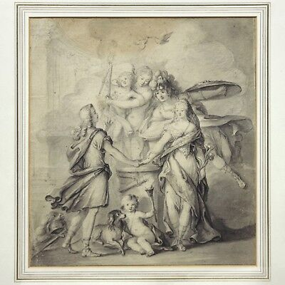Antique 18th century old master drawing the Mystic Marriage of St. Catherine