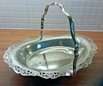 Vintage Silver Plated Oval Footed Fruit/Biscuit Basket Swing Handle Lace cut