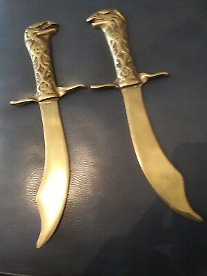 Two Vintage Brass Daggers (Display)