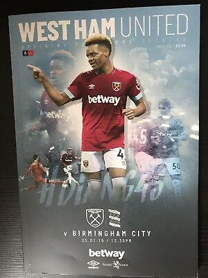 Programme West Ham United v Birmingham City FA Cup 05.01.2019