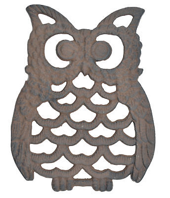 "Decorative Cast Iron Trivet Owl Hot Pad Kitchen Decor Table 7.75"" Long"