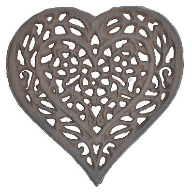 "Decorative Cast Iron Trivet Ornate Floral Heart Flowers Hot Pad Kitchen 6.5"" W"
