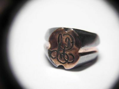 antiker Siegelring-Stahl mit Silber+Gold/antique steal+gold+silver wax seal ring
