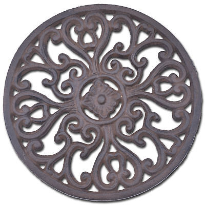 Decorative Cast Iron Trivet Ornate Heart Design Round Kitchen Hot Pad
