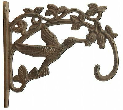 Hummingbird Plant Hanger Cast Iron Flower Basket Hook Outdoor Floral Decor 7.5""