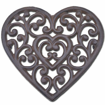 "Decorative Cast Iron Trivet Ornate Heart Kitchen Decor Hot Pad Pot Stand 8"" W N"