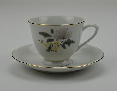 Floral Pattern Teacup And Saucer Set Yellow Green Flowers With Gold Trim Tea Cup