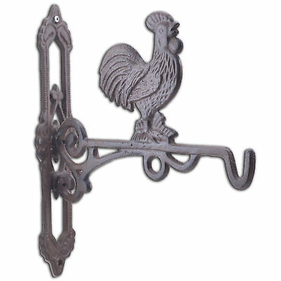 "Crowing Rooster Cast Iron Plant Hanger Farm Flower Basket Hook 10.75"" Deep"