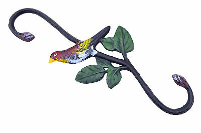 "Cast Iron S Style Plant Hook Colorful Bird Flower Basket Hanger 11.75"" Long N"