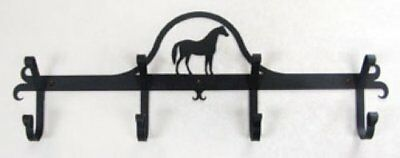 Wrought Iron Coat Bar Standing Horse Pattern 4 Hooks Black Home Wall Rack Decor