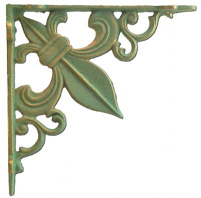 Wall Shelf Bracket Fleur De Lis Cast Iron Brace Bronze Patina Green 7.375""