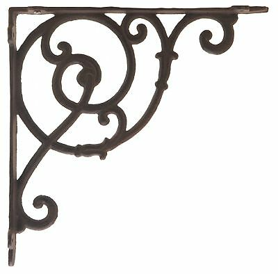 "Decorative Cast Iron Wall Shelf Bracket Brace DIY Craft Ornate Vine Rust 10"" D"