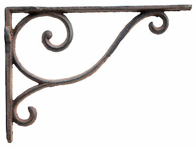 "Decorative Wall Shelf Bracket Simple Vine Rust Brown Cast Iron Brace 9"" Deep"