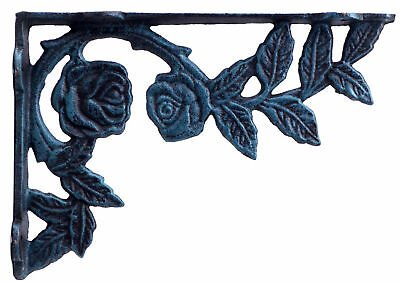 Rose Bush Wall Shelf Bracket Verdigris Cast Iron Brace DIY Custom Shelves 8.75""