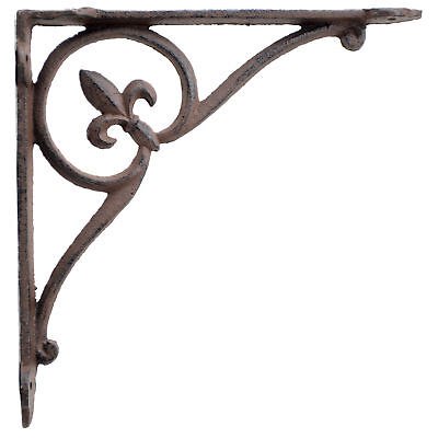 Fleur De Lis Wall Shelf Bracket Cast Iron Brace Rust Brown 7.75""