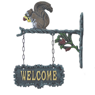 "Double Sided Hanging Welcome Sign Squirrel Eating A Nut Plaque Decor 9"" Wide N"