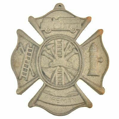 "Cast Iron Firefighting Wall Plaque Sign 7.75"" Wide Fireman Fire Rescue Grey"