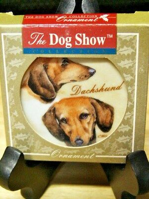 The Dog Show Brown Dachshunds Christmas Ornament By Chris Hoy  Nib