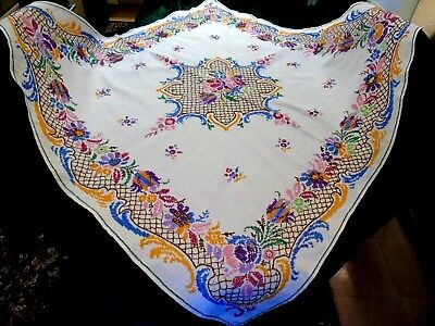 Stunning,Vintage,Hand Embroidered/Cross Stitched Tablecloth,Heavy Linen GC