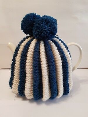 Vintage Inspired Hand Knitted Tea Cosy With Pom Poms