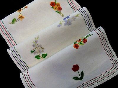 3 (THREE) Gorgeous,Vintage,Hand Embroidered Table Centres/Doilies/Mats GC