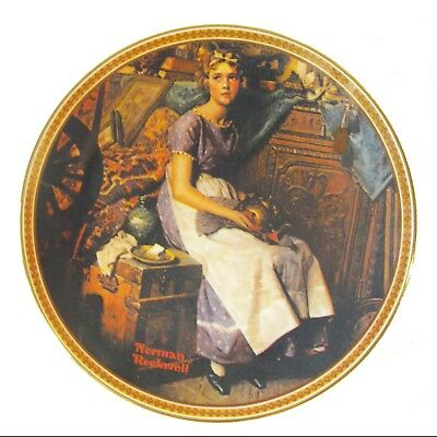 """Norman Rockwell Plate  Dreaming in the Attic  1980s  NIB  8.5""""  Knowles"""