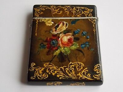 Lovely Antique Victorian Papier Mache Card Case Flowers & Foliage With Scrolls