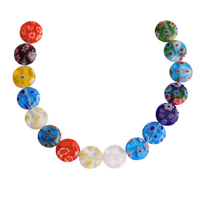 50Pcs 12mm Multicolor Oblate Flower Glass DIY Loose Spacer Beads Jewelry Finding