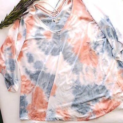 daab8927942 UNITY WORLD WEAR Women s Blouse Top Plus Size 3X Blue Coral Tie Dye ...