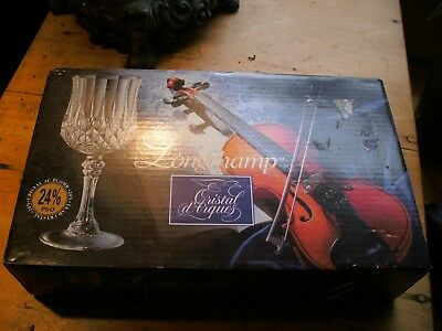"4 Longchamp Cristal d' Arques Crystal Liqueur Cordial Glass 4 5/8""  IN BOX NEW"